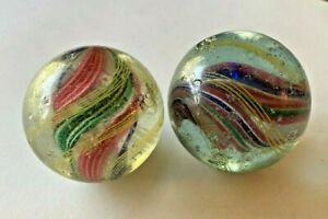 "2 LARGE Vintage  CORE SWIRL MARBLE, 2"" in Diameter"
