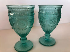 Pioneer Woman 12 Oz Adeline Glass Water Wine Goblets Teal Turquoise Two