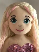 ~❤️~MERMAID DOLL Plush Soft Medium 45cms Flip Sequin Toy Soft Pink ANNA NWT