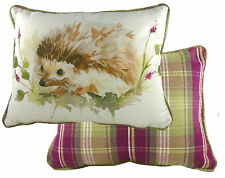 Filled Reversible Hedgehog Tartan Evans Lichfield Heather Cotton Cushion 43x33cm
