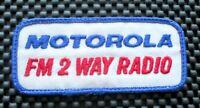 "MOTOROLA FM 2 WAY RADIO EMBROIDERED SEW ON PATCH ADVERTISING 4 1/2"" x 2"""