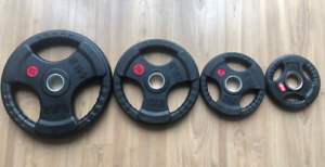 2.5KG - 20KG Olympic Rubber Coated Weight Plates Barbell Fitness Weightlifting