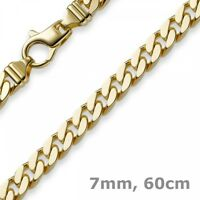 7mm Panzerkette Kette Collier diamantiert, 750 Gold Gelbgold massiv, 60cm