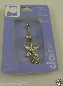 crystal double butterfly belly button ring, piercing, body jewelry, bling