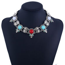 Women Collar Silver Resins Synthetic Stone Necklaces Jewelry Pendants Necklace