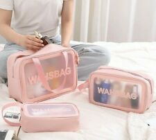 Large Capacity Cosmetic Bags Transparent PVC Toiletries Organizers Make Up Pouch