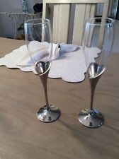 2 Vintage LENOX Champagne Flute Wedding Promise Silver Plated Stems Heart Shape