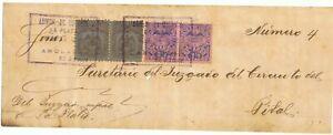 COLOMBIA 1898 RARE La Plata provisional use retardo on judicial cover