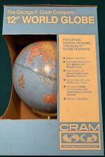 "Vintage George F. Cram Imperial World Globe 12"" Metal Stand ~Original Box"
