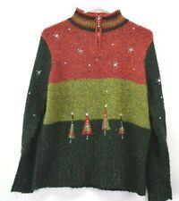 Mandal Bay Women's Medium Long Sleeve Wool Blend 1/4 Zip Pullover Sweater