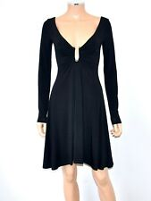 JUST CAVALLI Sz XS/SM, Black Viscose Sexy Long Sleeve Dress Logo Metal U Ring