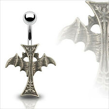"Gothic Cross Spread Wing Navel Belly Ring 14g 7/16""  Body Piercing Jewelry"