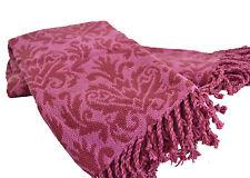 Púrpura Damasco Manta 140x130cm Suave Chenilla Lujo 100% algodón