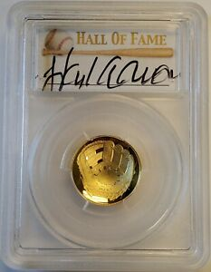 2014-W Baseball Hall of Fame $5 Proof Gold Coin Hank Aaron Signed PCGS PR70 FS