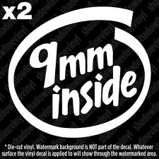 9mm INSIDE Decal Sticker .357 38 Special ACP Magnum 2A Pro Gun Rights NRA AR15