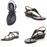 New Michael Kors Ramona Wedge/Bethany leather Thong Sandal/ Size 7.5-8.5