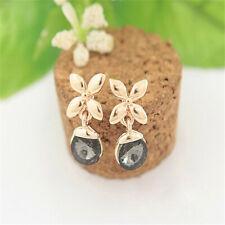 18K Rose Gold Filled Tarnish-Resist Black Crystal Stud Post Flower Earring Z1111