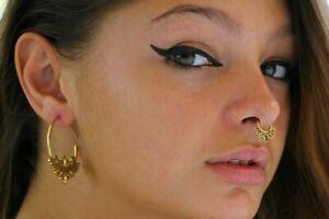 Septum Lotus Brass 18g Tribal Boho Pierced Nose Ring Handmade Jewelry Tragus 1mm