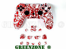 Blood Splatter Replacement Faceplate Controller Shell + Buttons Mod Kit for PS4