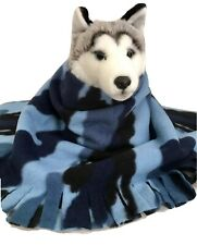 Camouflage Blue Fuzee Fleece Dog Blankets, Soft Pet Blanket Throw
