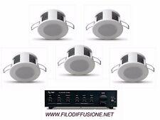 Sistema filodiffusione sonora audio 5 mini diffusori da incasso e amplificatore