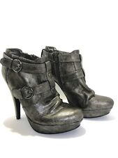 G by GUESS Metallic Silver Ankle Boots Platform DRINA Women's Shoes 6M