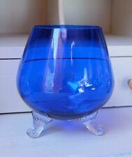 Vintage Cobalt Blue Blown Footed Glass Vase