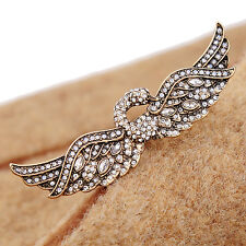 Antique Gold Color Rhinestone Swan Double & Two Finger Rings jz00262