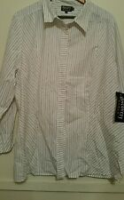 SALE Discovery Woman White Striped Shirt size 22 New ith Tags