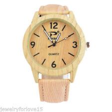 Damen Herren Uhr Quarzuhr Armbanduhr Analog Holz Natur Retro Lederband Mode PD