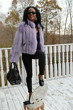 New Elegant Bloomingdale's lavender fox Fur Coat Bolero jacket Stroller S-M 4-8