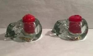 2 Vintage Sleepy Cat Kitty Candle Holder Indiana Glass Paper Weight Figurine SET