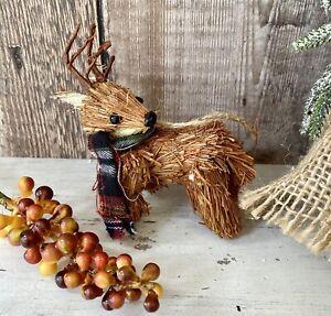 Rustic Woodland Reindeer Bristle Brush Christmas Tree Bauble Decoration Xmas