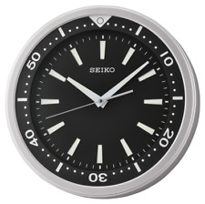 "*BRAND NEW* Seiko 14"" Ultra-Modern Black & Silver Sweep Wall Clock QXA723ALH"