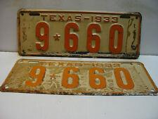 1933 Texas License Plate   9 - 660  PAIR       long & narrow    Vintage as5161