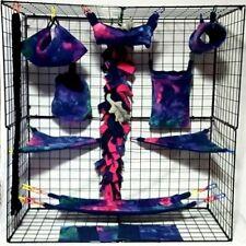 New listing BlueGreenMagenta Tie Dye*15 Pc Sugar Glider Cage set * Rat * double layer Fleece