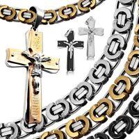 Edelstahlkette Kreuz Anhänger Halskette Königskette Set Herren Schwarz Silbern