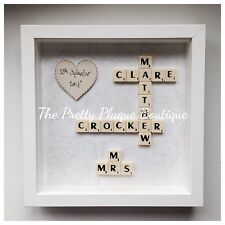 Personalised Scrabble Frame Word Art Home Gift Wedding Gift Valentines Day Gift