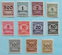 ALEMANIA - 1923 - SERIE BASICA - SOBRECARGADOS ( 11 Und ) DIFFERENT VALUES NUEVO