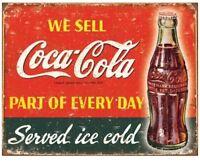 COCA COLA ICE COLD METAL TIN SIGN AGED RETRO WEATHERED LOOK COKE SODA