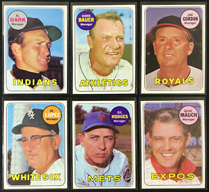 1969 Topps Manager Lot (13) Gil Hodges-Joe Gordon-Al Lopez-High Numbers-Nice!