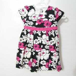 Gymboree Dress Girls size 5T Black Pink Floral Short Sleeve Cotton Party Holiday