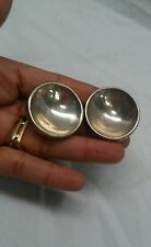 Statement vtg modernist Moulage Modele round Sterling 925 clip on  earrings