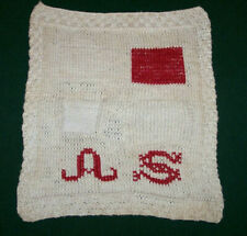 "Fabulous Antique Knitted Stitch Sampler, ""As"" Turkey Redwork Mono, c1900"