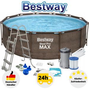 Bestway Frame Pool Rattan Schwimmbecken Gartenpool 366x100 Pumpe Leiter 56709