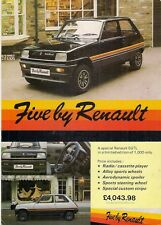 Renault 5 Five By Renault Limited Edition 1981 UK Market Leaflet Sales Brochure