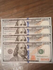 PB80485453 D  $100 Dollar Bills Sequential Serial Numbers 4 Notes Uncirculated