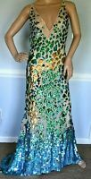 $12,500 Roberto Cavalli Long Maxi Sequin Embellished Gown Dress US 2 / IT 38