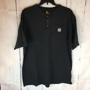 Carhartt Henley Pocket T Shirt Men 2 XLT Short Sleeve Cotton Black