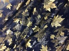 PURPLE TULLE DRESS FABRIC WITH GOLD METAILLIC PRINTED LEAVES (A18)
